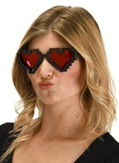 Click to get Pixel Heart Glasses Black Red Lenses