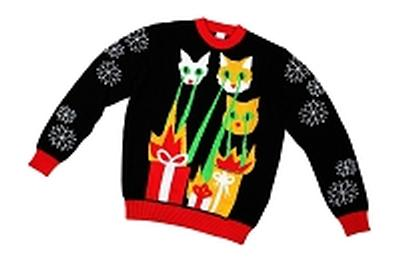 Click to get Kids Ugly Christmas Sweater Laser CatZillas